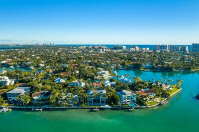 aerial drone view of Key Biscayne with downtown Miami skyline in the back