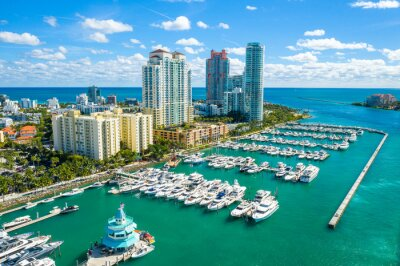 Plakat aerial drone view of Miami Beach marina in South Point