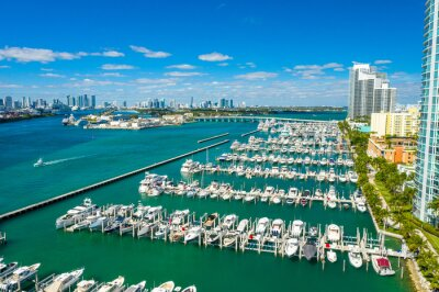aerial drone view of Miami Beach marina in South Point