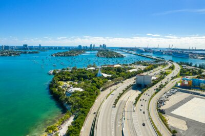 aerial drone view of Miami Beach over Mc Arthur causeway heading east
