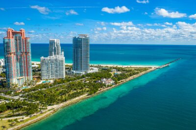 Aerial drone view of South Point in Miami Beach