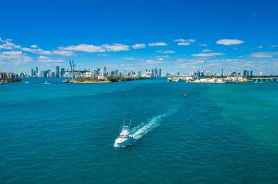 aerial drone view of the port of Miami and the downtown skyline in the back