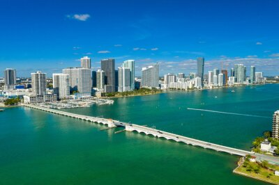 aerial drone view of Venetian causeway with downtown Miami skyline in the back