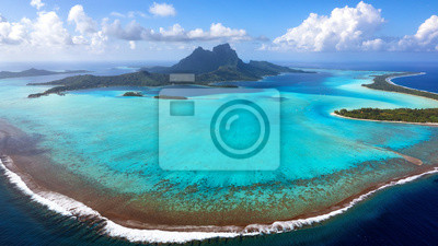 Plakat Aerial View of Bora Bora Island and Lagoon