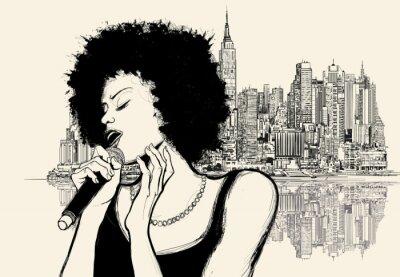 Plakat afro amerykański piosenkarz jazzowy