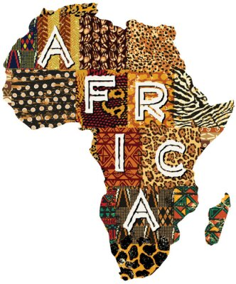 Plakat Afryka map wektorowych patchwork