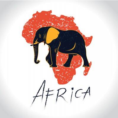 Plakat Afryki i Safari z logiem słonia 2