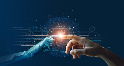 Plakat AI, Machine learning, Hands of robot and human touching on big data network connection background, Science and artificial intelligence technology, innovation and futuristic.