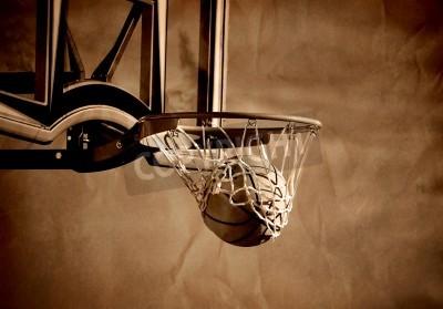 Plakat Akcja strzał koszykówka przeżywa obręcz do koszykówki i netto
