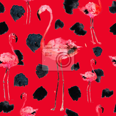 Plakat Akwarela bezszwowe wzór z flamingo i kropki. Motyw egzotycznej plaży letniej. Projektowanie strojów kąpielowych, pakowanie, tło, tapeta, tkanina. Hawajski wydruk. Powtarzający się ornament ptaków w dż