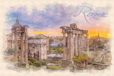 Plakat Akwarela efekt ilustracja świcie nad rzymskim forum