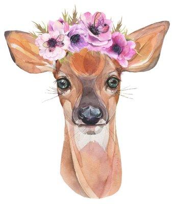 Plakat Akwarela ilustracja Śliczny płowy z kwiatami. Młody jelonek.