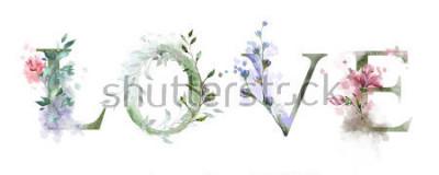 Plakat akwarela ilustracja z dzikich kwiatów, zioła - miłość. Fajny nadruk na koszulce. Zabytkowe. Literowanie