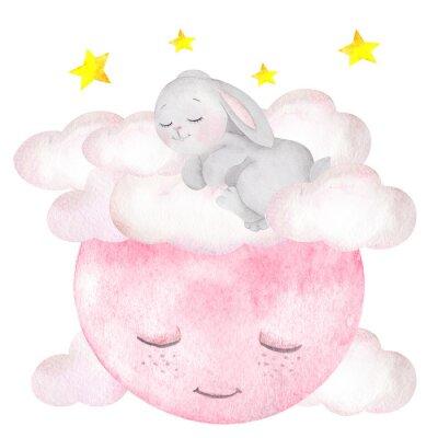 Plakat Akwarela ilustracja z ładny królik, księżyc, gwiazdy i chmury