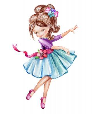 Plakat Akwarela ilustracji, cute little ballerina, młoda dziewczyna w blue dress, taniec dziecko, lalki, clipart samodzielnie na białym tle