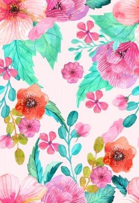 Plakat Akwarela kwiatowy szwu