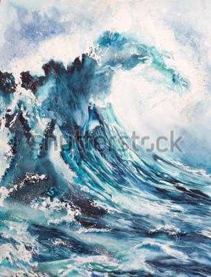 Plakat akwarela malarstwo morze fala