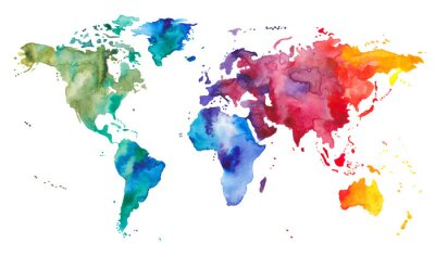 Plakat Akwarela Mapa świata