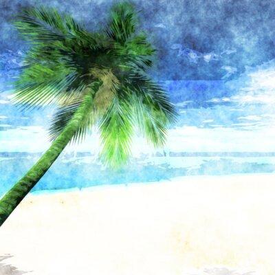Plakat Akwarela palmy na plaży