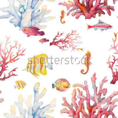 Plakat Akwarela rafy koralowej wzór. Ręcznie opracowany realistyczny wzór tła: tropikalne ryby, korale, konik morski na białym tle. Naturalny powtarzający się tekstura projekt dla papieru, tkaniny, tapeta