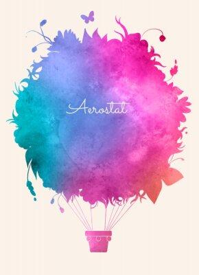Plakat Akwarela rocznika gorące balloon.Celebration powietrza deseń świąteczna