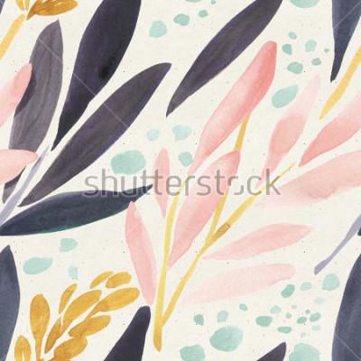 Plakat Akwarela wzór na tekstury papieru. Kwiecisty tło