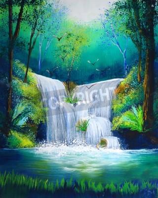 Plakat akwarela z wodospadem