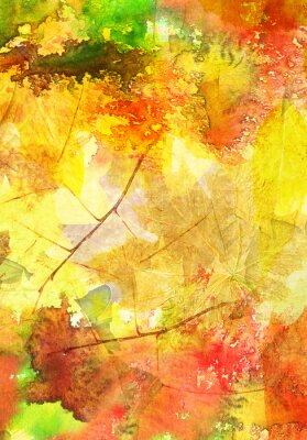 Plakat Akwarele tła z liści jesienią