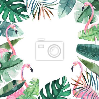 Plakat Akwareli Rama Z Tropikalnymi Dżungla Liśćmi I Różową Flamingo