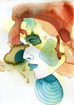 Plakat Akwarelowy portret Kobiety