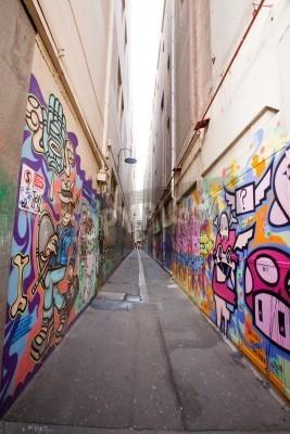 Plakat Aleja w Melbourne z wielu graffiti na ścianie