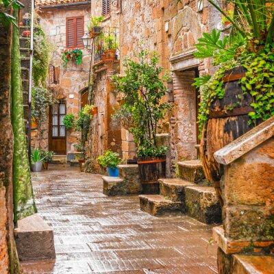 Plakat Aleja w starym mieście Pitigliano Toskanii we Włoszech