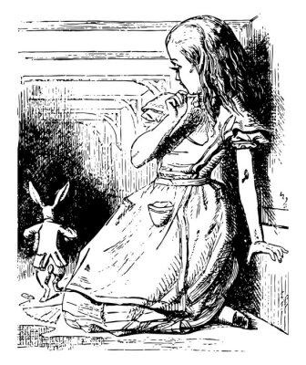 Plakat Alice Watches the White Rabbit Run Away vintage illustration