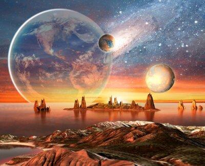 Plakat Alien Planet Z Gór Księżyca i Ziemi