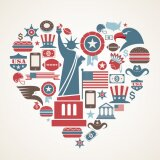 Plakat America miłości - kształt serca z wielu ikon wektorowych
