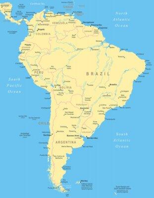 Plakat Ameryka Południowa mapa - bardzo szczegółowe ilustracji wektorowych.