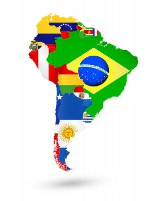 Plakat Ameryka Południowa mapa z flagami i umieszczeniem na mapie świata