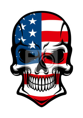 Amerykański czaszka z wzorem flagi amerykańskiej