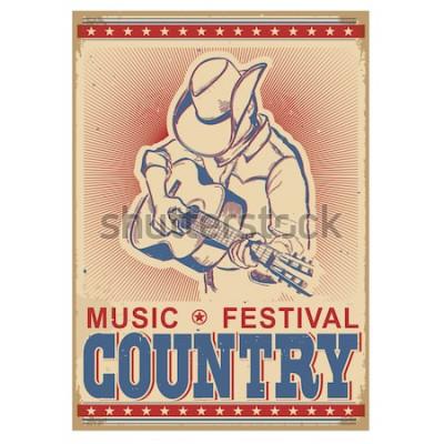 Plakat Amerykański festiwal muzyczny tło z muzykiem gra na gitarze. Wektor retro plakat z tekstem na starym papierze