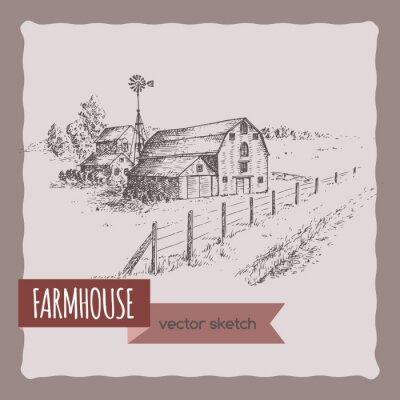 Plakat Amerykański gospodarstwa dom, stodoła i pastwisk wektor szkic.