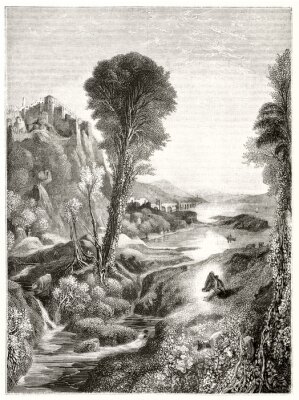 Plakat Ancient grayscale etching style illustration of a majestic natural landscape at sunset with a river leading to the sun. By Marvy after Turner publ. on Magasin Pittoresque Paris 1848
