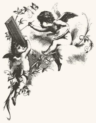 Plakat Angels - odcienie szarości