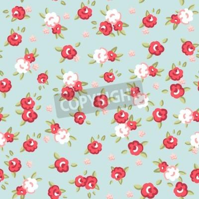 Plakat Angielski Rose, Seamless wzór tapety w różowe róże na niebieskim tle, ilustracji wektorowych