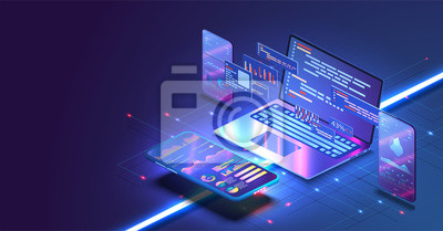 Plakat Application of Smartphone with business graph and analytics data on isometric mobile phone. Analysis trends and software development coding process concept. Programming, testing cross platform code