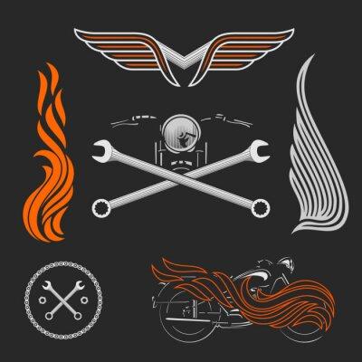 Plakat Archiwalne motocykla wektor logo, emblematy, szablony, etykiet, symboli i elementów motocykla.