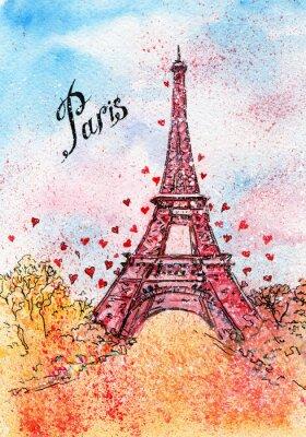 Plakat Archiwalne pocztówki. Ilustracja akwarela. Paryż, Francja, Wieża Eiffla