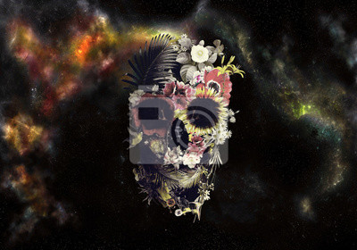 Plakat Artistic Drawn Illustration Of A Skull In Roses On An Abstract Colorful Cloudy Background