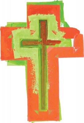 Plakat Artystyczna abstrakcyjna akwarela styl kolorowy nowoczesny krzyż zielony i czerwony