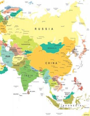 Plakat Asia - mapa - ilustracji. Asia map - bardzo szczegółowe ilustracji wektorowych.
