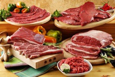 Plakat Assorted wołowiny surowego mięsa